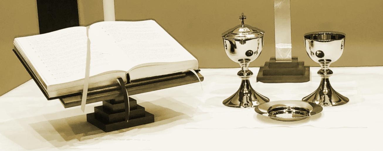 Altar Book Communion Ware Closeup Sepia